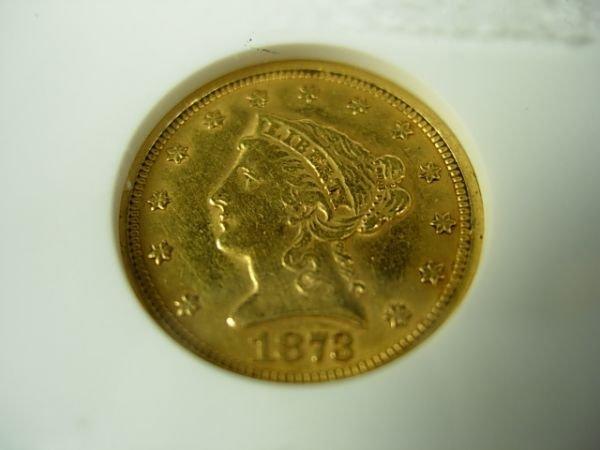 90285: 1873 2.50 GOLD LIBERTY QUARTER EAGLE AU55 ANACS