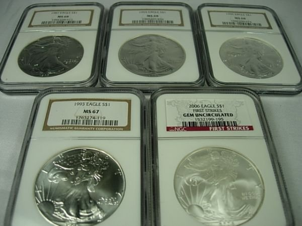 90286: SILVER AMERICAN EAGLE LOT OF 5 FIRST STRIKE NGC