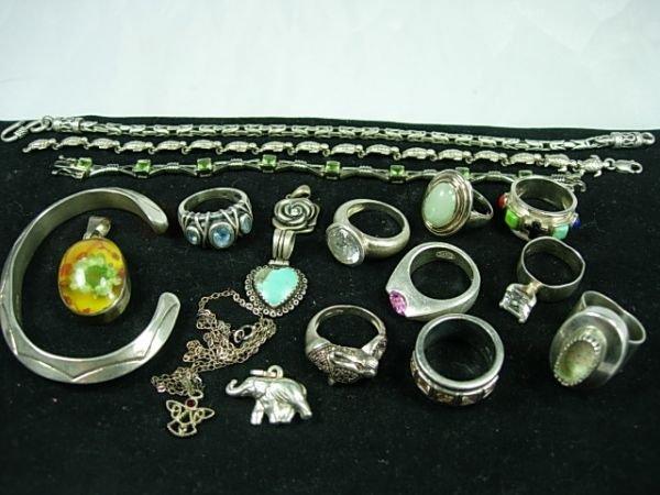 90260: STERLING SILVER JEWELRY LOT DIAMOND MARCASITE