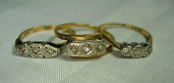 90404: 3 ANTIQUE VICTORIAN 18KT GOLD PLATINUM & DIAMOND