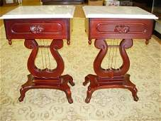 KIMBALL VICTORIAN STYLE MAHOGANY MARBLE TOP END TABLE