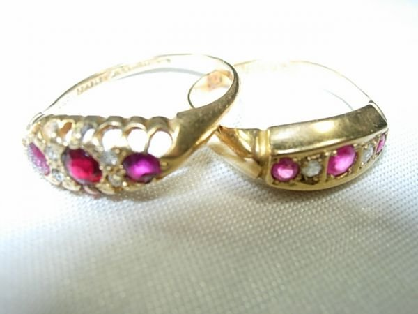 90386: 2 VICTORIAN 18KT GOLD RUBY DIAMOND RING HALLMARK