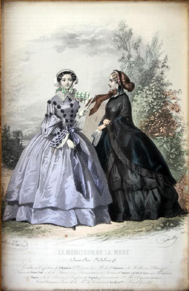 19TH C LE MONITEUR DE LA MODE LITHO COLOR PRINTS