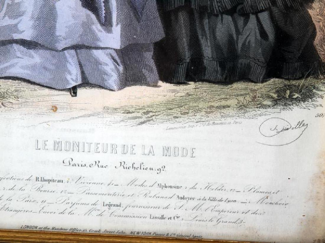 19TH C LE MONITEUR DE LA MODE LITHO COLOR PRINTS - 3