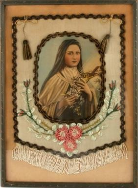 VIRGIN MARY LITHOGRAPH EMBROIDERED WALL HANGING