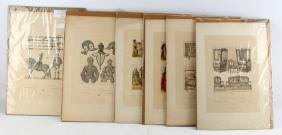 LOT OF 6 1898 FRENCH LITHOGRAPHS 19TH CENTURY