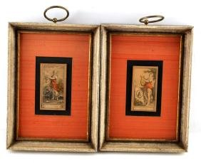 2 FRAMED CIGARETTE CARDS POESIE AND OLE TOUCHER
