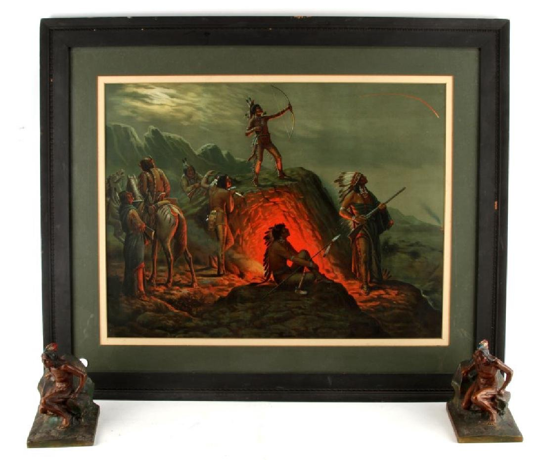 NATIVE AMERICAN FLAMING ARROW PRINT W BOOK ENDS