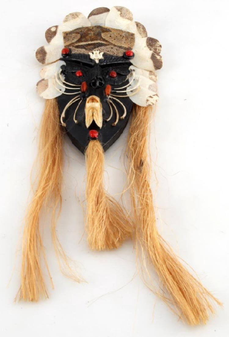 VINTAGE AMAZON INDIAN HANDCRAFTED MASK W BONES