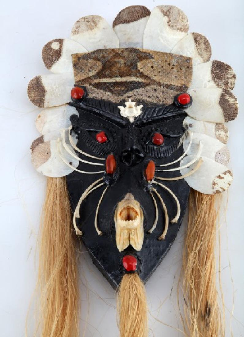 VINTAGE AMAZON INDIAN HANDCRAFTED MASK W BONES - 2