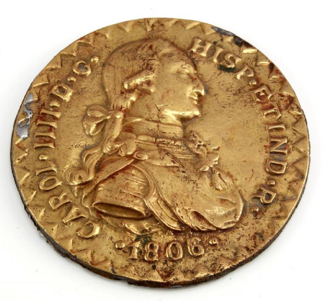 CHARLES IIII 1806 BRASS WALL ESCUDO BUST PLAQUE