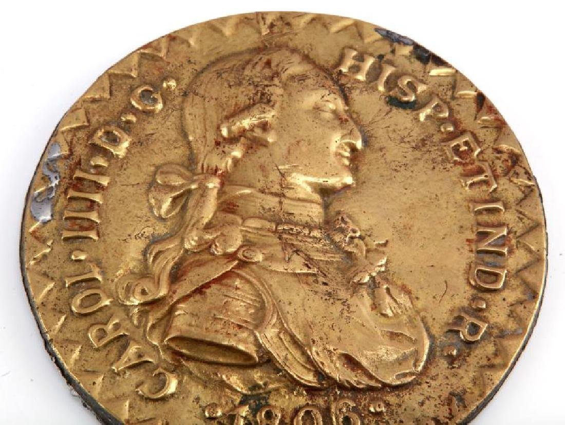 CHARLES IIII 1806 BRASS WALL ESCUDO BUST PLAQUE - 2