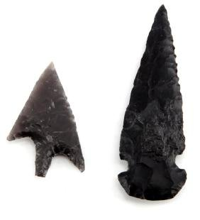 LOT OF TWO PLAINS INDIAN ARROWHEADS