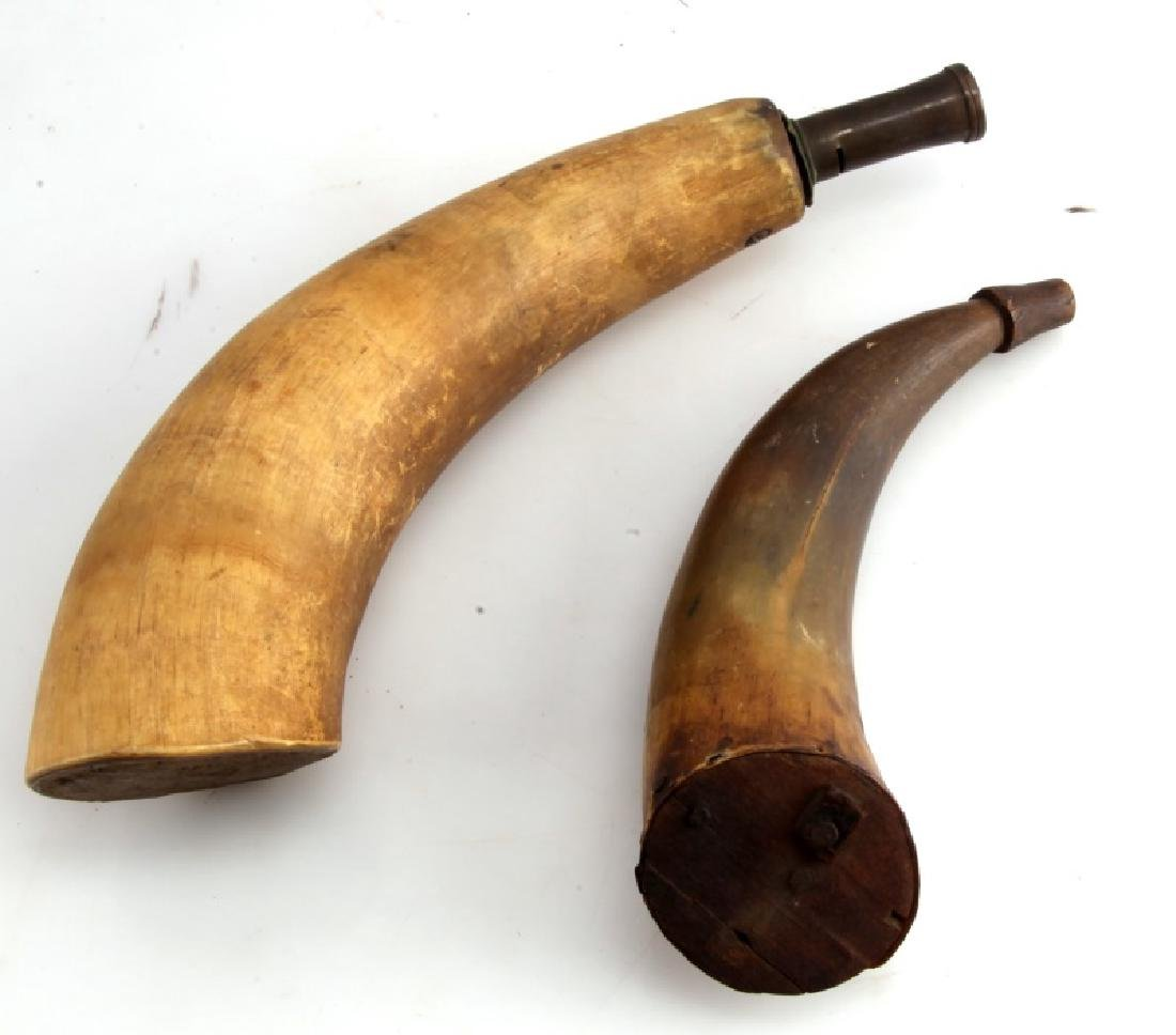 SET OF 2 ANTIQUE POWDER HORN FLASKS EARLY AMERICAN