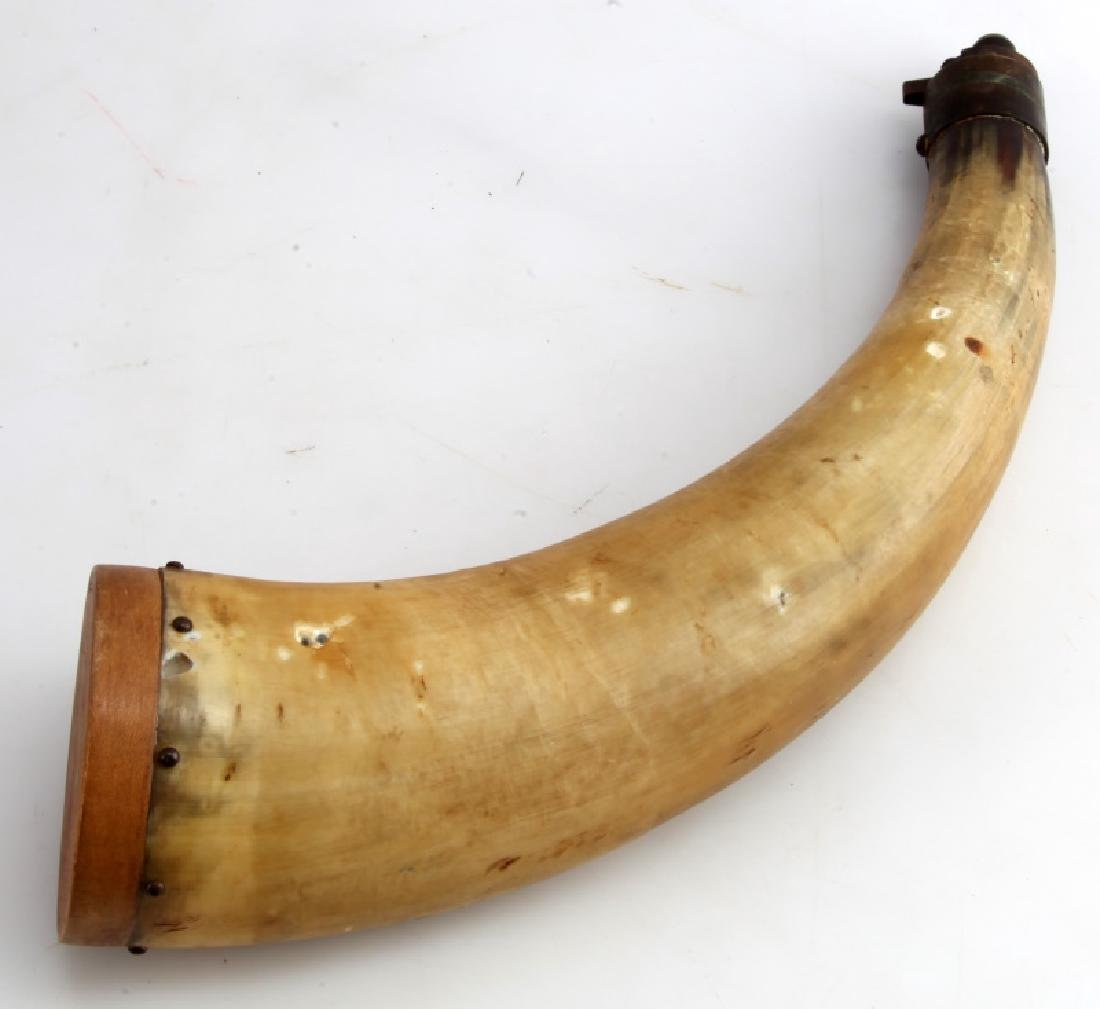 """ANTIQUE LARGE 13"""" POWDER HORN EARLY AMERICAN"""