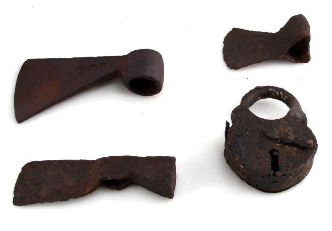 LOT OF 4 - ANTIQUE IRON AXE HEADS AND PADLOCK