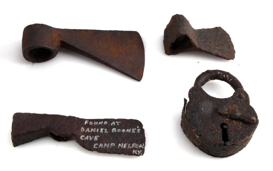 LOT OF 4 - ANTIQUE IRON AXE HEADS AND PADLOCK - 5