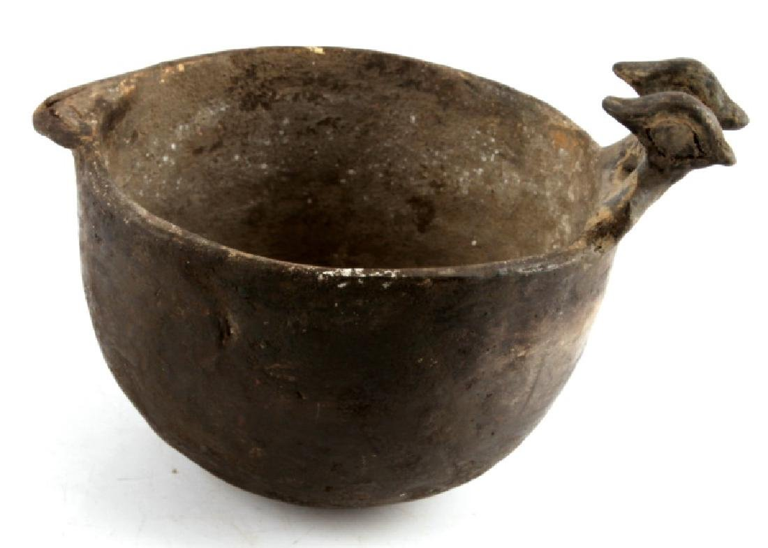 MISSISSIPPIAN CULTURE ZOOMORPHIC POTTERY VESSEL - 4