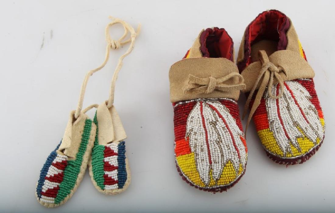 2 PAIRS NATIVE AMERICAN LEATHER MINI MOCCASINS