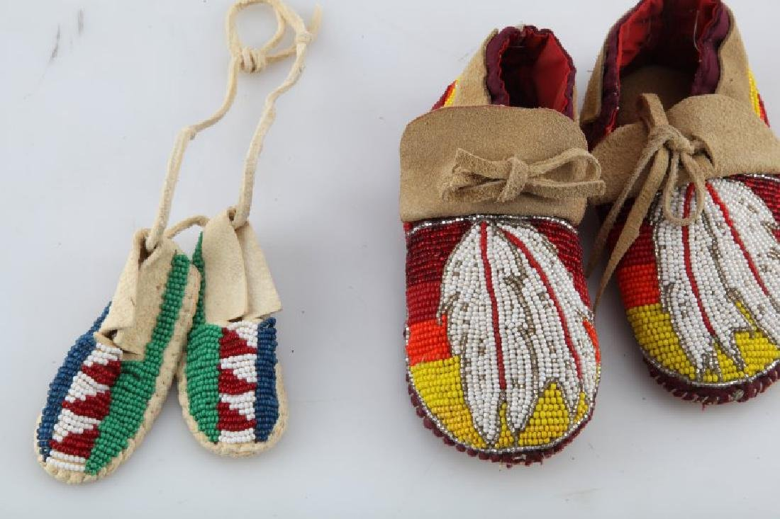 2 PAIRS NATIVE AMERICAN LEATHER MINI MOCCASINS - 2