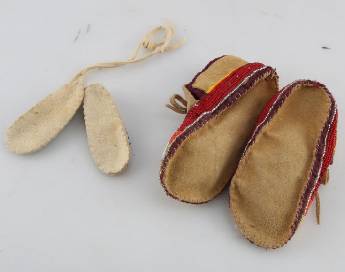 2 PAIRS NATIVE AMERICAN LEATHER MINI MOCCASINS - 3