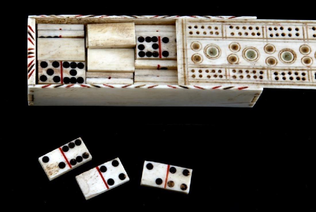 ANTIQUE BONE SCRIMSHAW DOMINO BOX & DOMINOS - 2