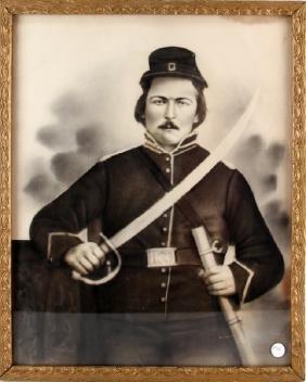 CONFEDERATE SOLDIER CRAYON ENLARGEMENT PORTRAIT