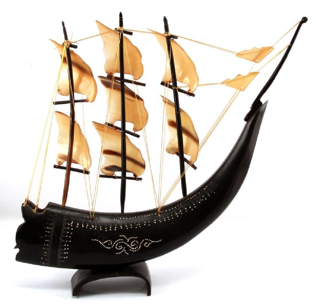 WATER BUFFALO HORN MODEL SAILING SHIP