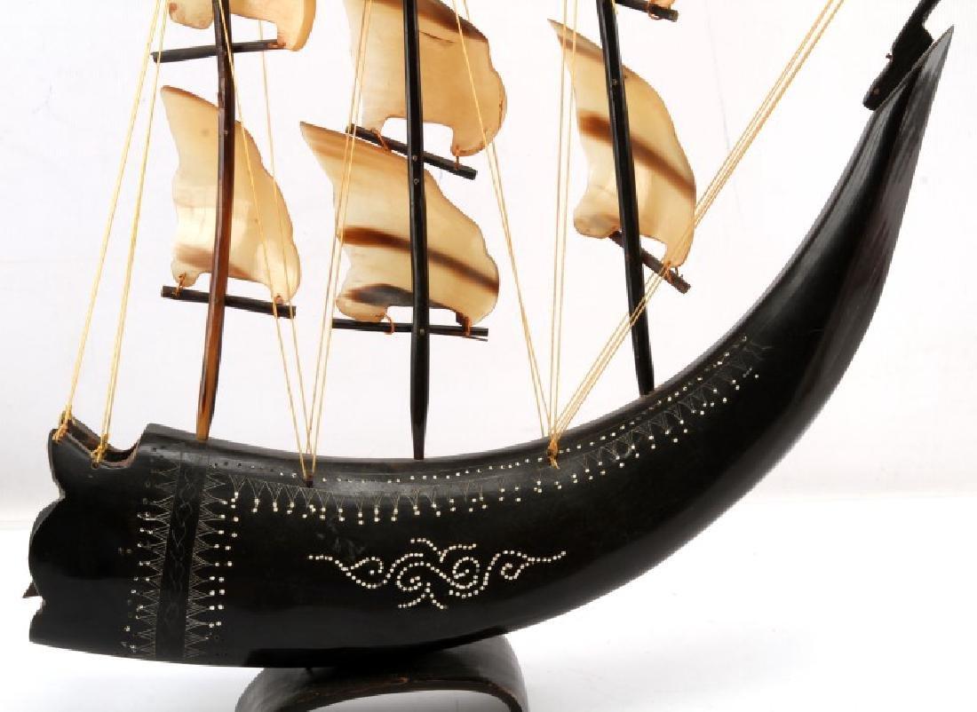 WATER BUFFALO HORN MODEL SAILING SHIP - 2
