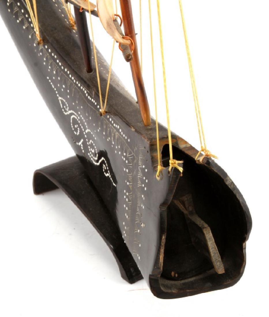 WATER BUFFALO HORN MODEL SAILING SHIP - 3