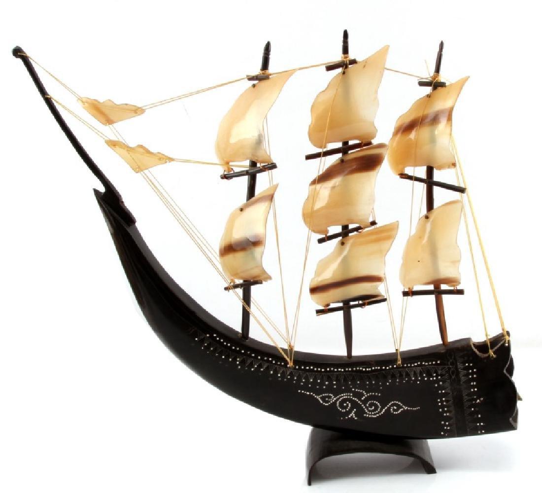 WATER BUFFALO HORN MODEL SAILING SHIP - 4