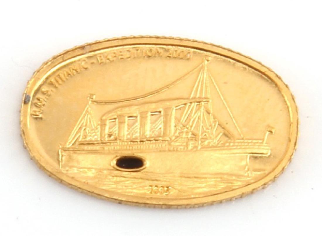 2005 GOLD TITANIC EXPEDITION LIBERIA COIN W COAL - 2