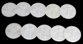 10 SILVER AMERICAN EAGLE 1 OZT BU COIN LOT