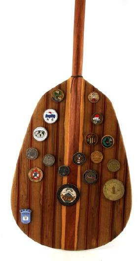 LARGE WOODEN PADDLE W 18 GULF WAR BADGES