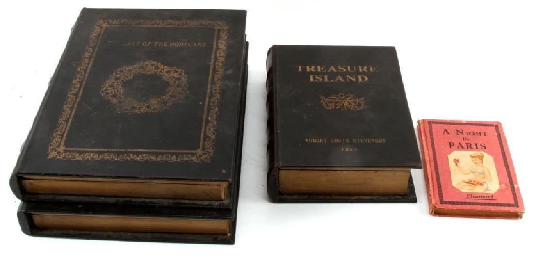SET OF FOUR FAUX BOOKS STORAGE BOXES