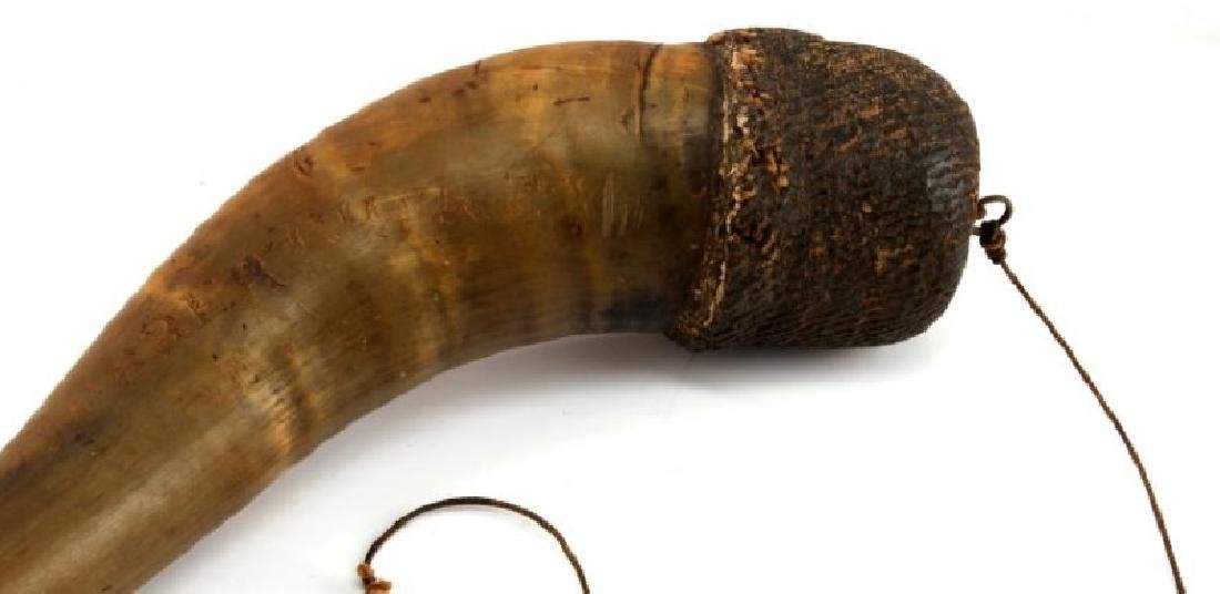 BULL HORN POWDER HORN WITH ENGRAVED WORDS - 2