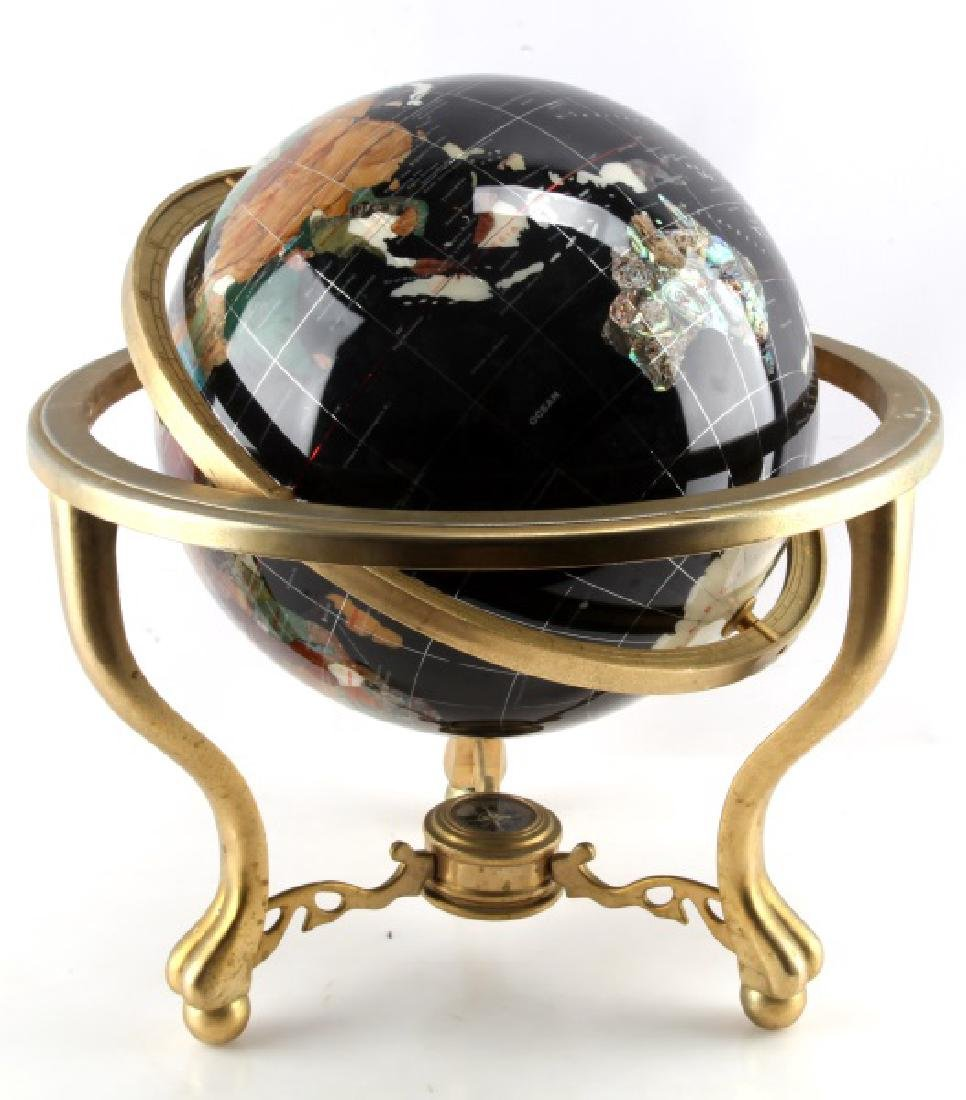 BLACK GEM STONE GLOBE WITH COMPASS GILDED FEET