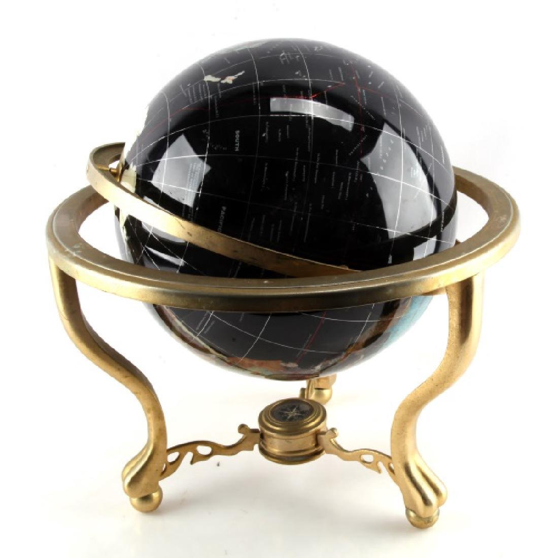 BLACK GEM STONE GLOBE WITH COMPASS GILDED FEET - 7