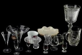 LOT ASSORTED GLASSWARE CANDLESTICKS PITCHER LENOX