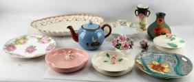 LOT OF 11 PORCELAIN AND GLASS PLATES TEAPOT & MORE
