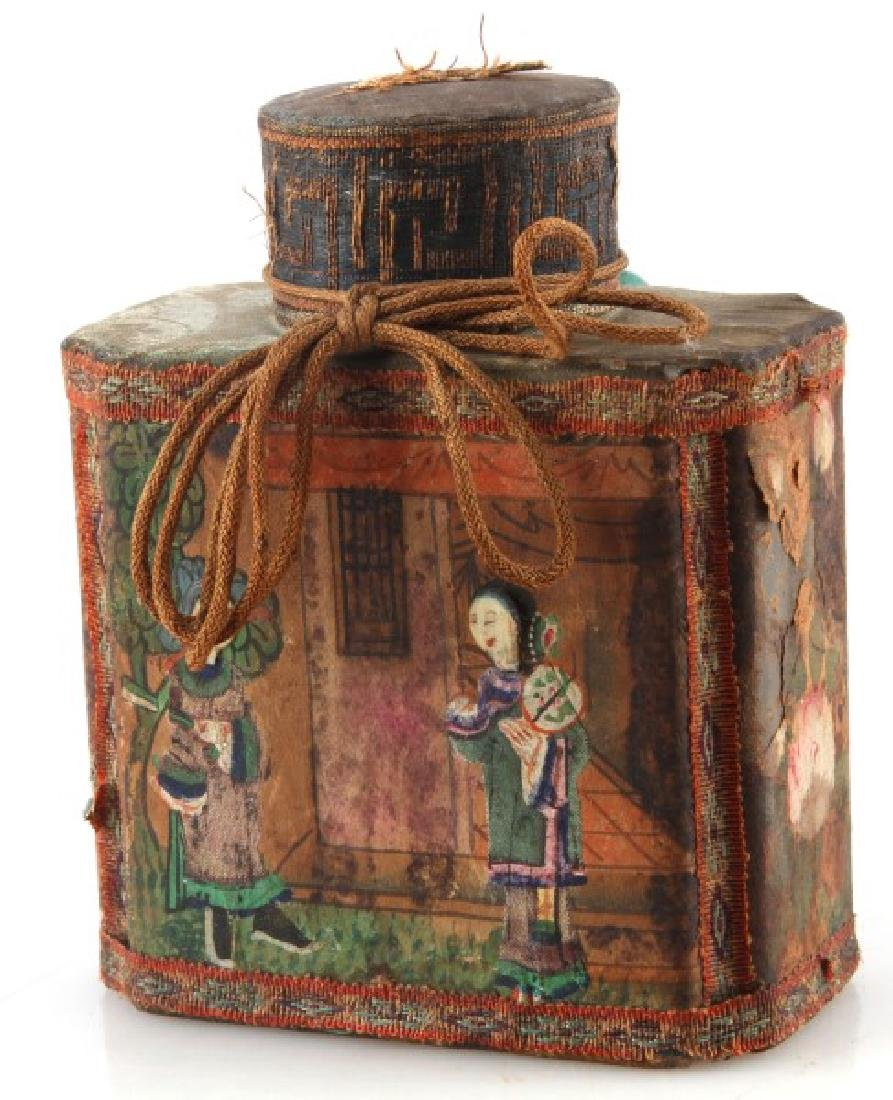 ANTIQUE CLOTH ASIAN CHINESE TEA CADDY