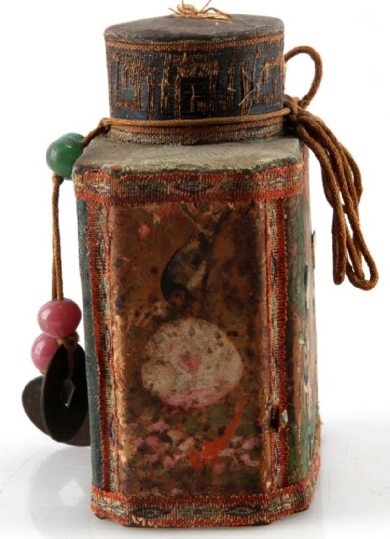 ANTIQUE CLOTH ASIAN CHINESE TEA CADDY - 3