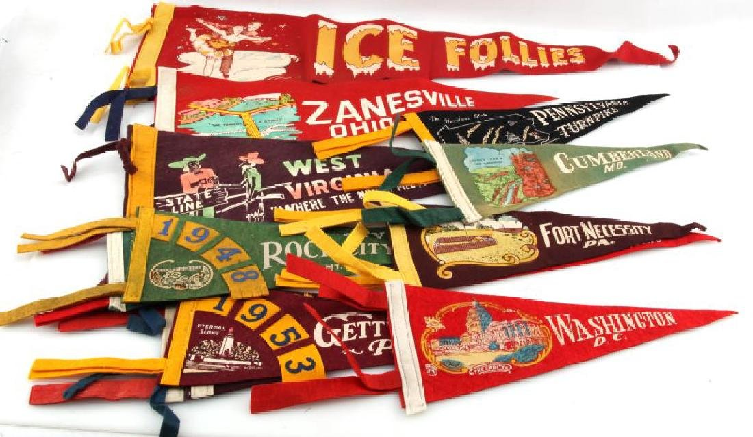 LOT OF 13 VINTAGE FELT PENNANTS ICE FOLLIES STATES