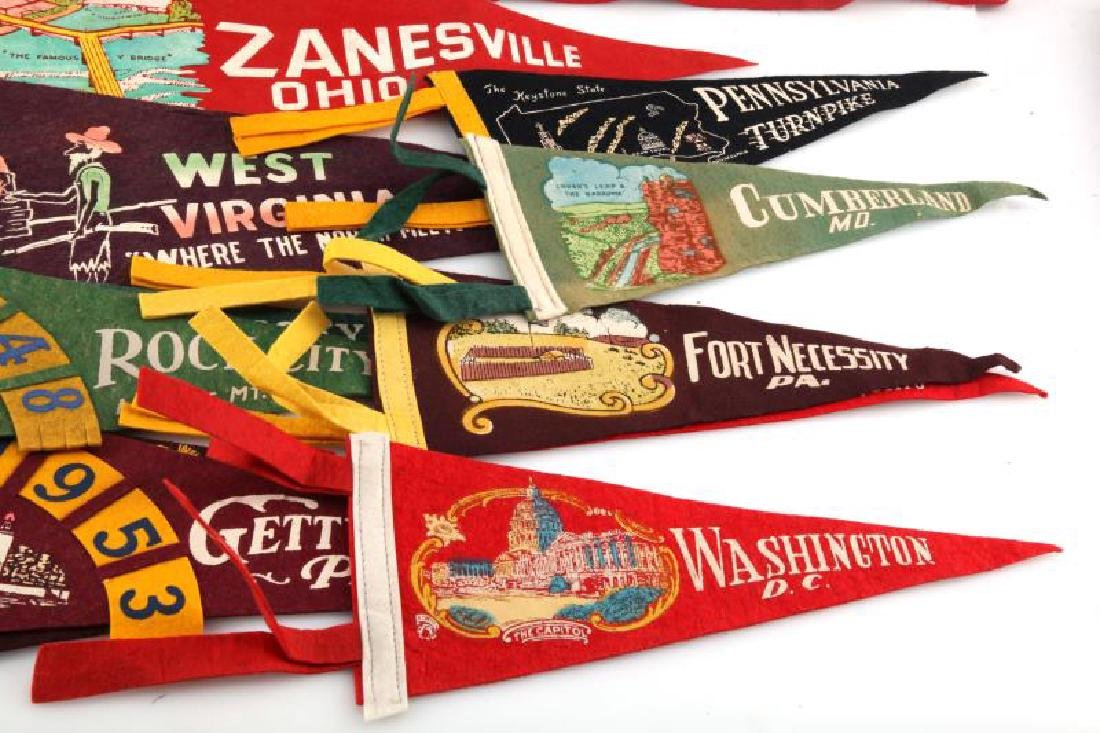 LOT OF 13 VINTAGE FELT PENNANTS ICE FOLLIES STATES - 3