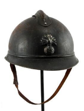 FRENCH WWII HELMET RF ADRIAN W CHIN STRAP & LINER