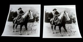 2 BLACK AND WHITE CLU GULAGER SIGNED PHOTOS