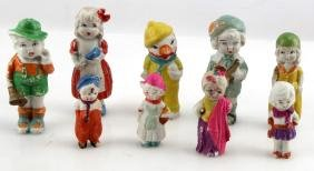 LOT OF 9 VINTAGE MINI BISQUE DOLL FIGURINES JAPAN