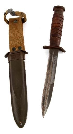 WWII UTICA U.S. M-3 FIGHTING KNIFE & M-8 SCABBARD