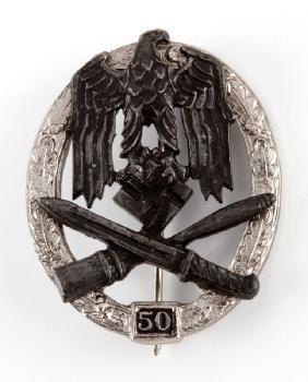 WWII THIRD REICH GERMAN GENERAL ASSAULT BADGE 50