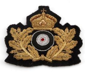 GERMAN IMPERIAL NAVAL OFFICERS CLOTH CAP BADGE